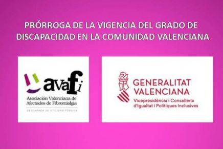 Prórroga de la vigencia del grado de discapacidad en la Comunidad Valenciana